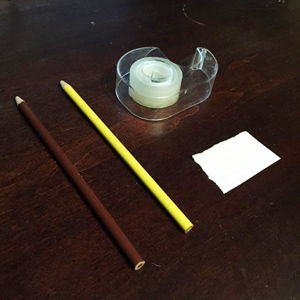 pencils, tape, paper for pollen press